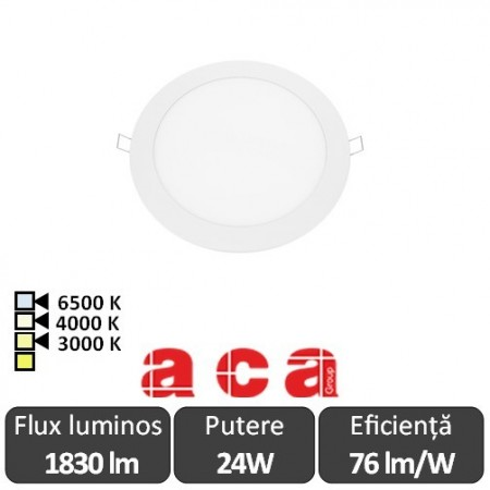 ACA Lighting Plato Panou Led Rotund Alb 24W 3000/4000/6500K