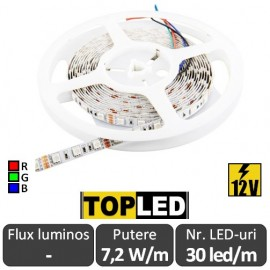 Bandă LED flexibilă - Top Led SMD5050 RGB 7.2W/m 12V rolă 5m