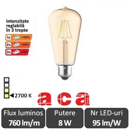 Poze Bec LED Aca Filament Dimabil 3 trepte 8W E27 Amber ST64 alb-cald