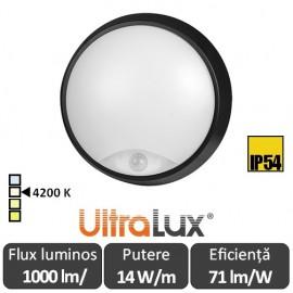 Ultralux Plafonieră tavan Led cu senzor,14W  IP44, alb, LBHS1442R