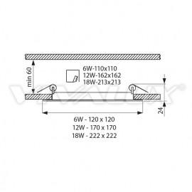 Vivalux Panou GRID LED Panel 18W CL/SR 4000K Aluminiu