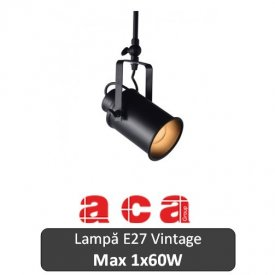 Lampă suspendată Aca Lighting 1xE27 Negru sau Alb-Auriu