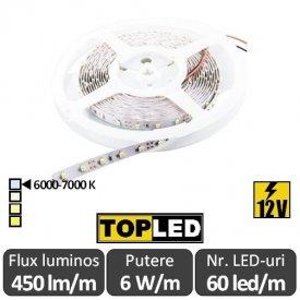 Bandă LED flexibilă - SMD2835 6W/m 12V rolă 5m alb-rece