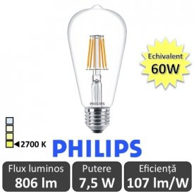 Bec LED Philips - Classic Filament LED 7,5W ST64 E27 827 alb-cald
