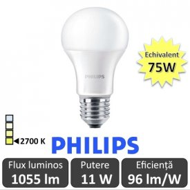 Bec LED Philips - CorePro LED bulb 11W A60 230V E27 alb-cald