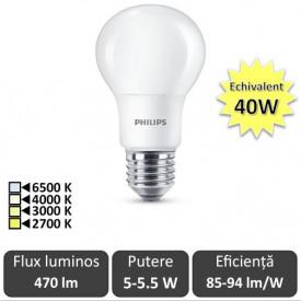 Bec LED Philips - CorePro LED bulb 5-5.5W -40W A60 E27 alb-cald/alb/alb-neutru sau rece