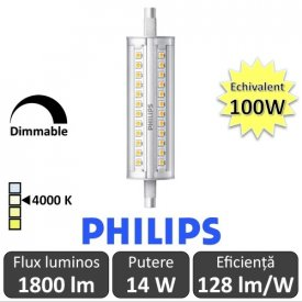 Bec LED Philips - CorePro LED linear R7S 118mm 14-100W 840 alb-neutru