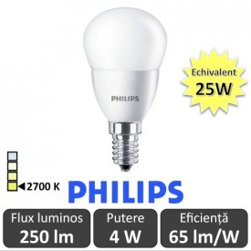 Bec LED Philips - CorePro LED luster frosted 4W P45 230V E14 alb-cald