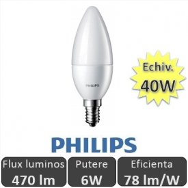 Bec LED Philips - LEDcandle 6W E14 230V B39 alb-cald