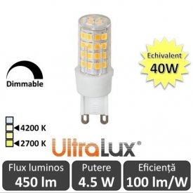 Bec LED Ultralux - Capsula LED G9 4.5W 230V alb-cald/alb-neutru