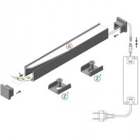Profil LED aparent SMART 10, alb, lungime 2m