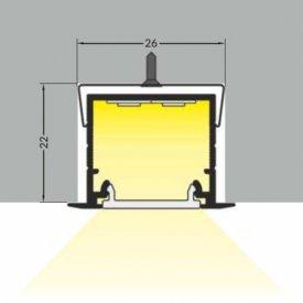 Profil LED încastrat LINEA IN 20, negru, lungime 2m