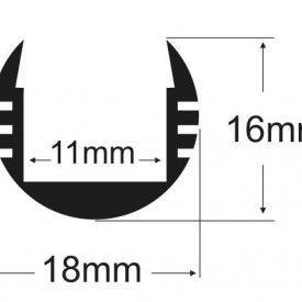 Profil LED rotund tip A203, pentru montaj aparent, lungime 2m