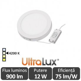 Ultralux Panou Led Rotund 12W Alb-Neutru LPRS1801242