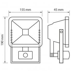 Ultralux - Proiector LED cu senzor 10W alb-neutru