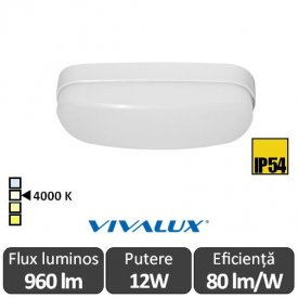 Vivalux BALI LED oval 12W IP54 alb-neutru