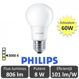 Bec LED Philips - CorePro LED bulb 8W A60 230V E27 alb-cald