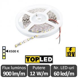 Bandă LED flexibilă - SMD5050 12W/m 12V rolă 5m alb-neutru