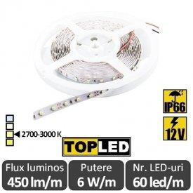 Bandă LED flexibilă - SMD2835 6W/m 12V IP66 rolă 5m alb-cald