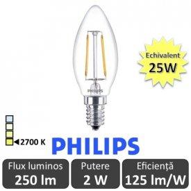 Bec LED Philips - Classic Filament LED 2W B35 E14 827 alb-cald
