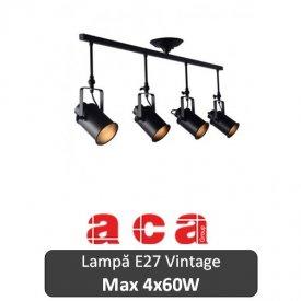 Lampă suspendată Aca Lighting 4xE27 Negru sau Alb-Auriu