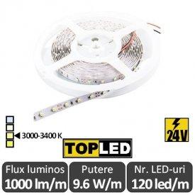 Bandă LED flexibilă - SMD2835 9,6W/m 24V rolă 5m alb-cald