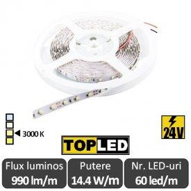 Bandă LED flexibilă - SMD2835 14.4W/m 24V 60led/m rolă 5m alb-cald