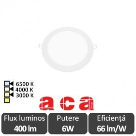 ACA Lighting Plato Panou Led Rotund Alb 6W 3000/4000/6500K