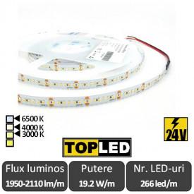 Bandă LED flexibilă - SMD2216 19.2W/m 266led/m CRI90 24V rolă 5m alb-cald/neutru sau rece