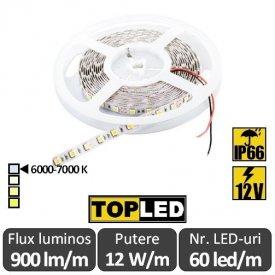 Bandă LED flexibilă - SMD5050 12W/m 12V IP66 rolă 5m alb-rece