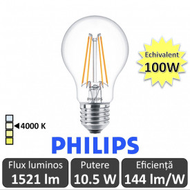 Bec LED Philips - Classic Filament LED 10.5-100W A60 E27 840 alb-neutru