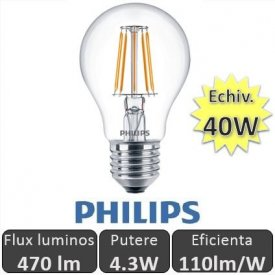 Bec LED Philips - LED Classic Filament 4.3W A60 230V E27 alb-cald