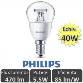 Bec LED Philips - LEDluster 5.5W E14 230V P45 CL alb-cald
