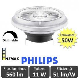 Bec LED Philips - MASTER LEDspot LV AR111 D 11-50W 24D 927 alb-cald