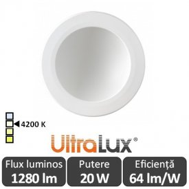 Downlight Led Rotund Lumină Indirectă 20W 4200K ( Alb-Neutru )