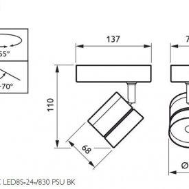 Philips - Proiector LED ST120C 12W/830 orientabil, alb-cald