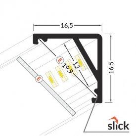 Profil LED de colț CABI 12, alb, lungime 2m