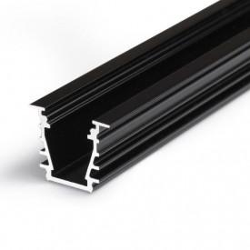 Profil LED încastrat DEEP 10, negru, lungime 2m