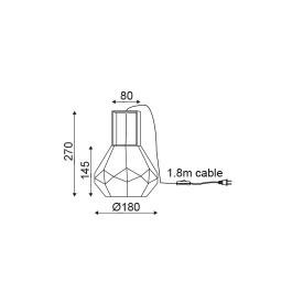 CORP ILUMINAT ACA LIGHTING V371481TG METAL CROM FUMURIU STICLA E27