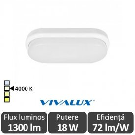 Vivalux ELLIS/O Led 18W IP54 4000K Alb-Neutru