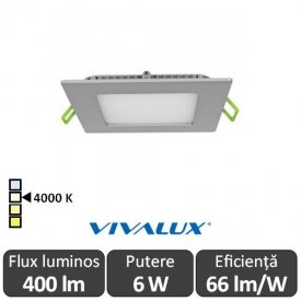 Vivalux Panou GRID LED Panel 6W CL/SR 4000K Aluminiu