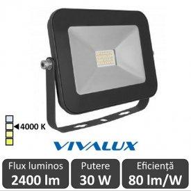 Vivalux - Proiector TREND LED de Exterior 30W IP65 4000K Alb-Neutru Culoare Negru