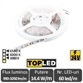 Bandă LED flexibilă - SMD2835 14.4W/m 24V 60led/m rolă 5m alb-cald,neutru sau rece