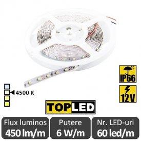 Bandă LED flexibilă - SMD2835 6W/m 12V IP66 rolă 5m alb-neutru
