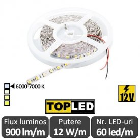 Bandă LED flexibilă - SMD5050 12W/m 12V rolă 5m alb-rece
