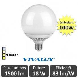 Bec LED Glob 18W G120 230V E27 alb-cald