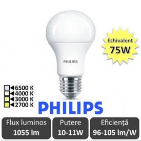 Bec LED Philips - CorePro LED bulb 10-11W A60 E27 alb-cald/alb/alb-neutru sau rece