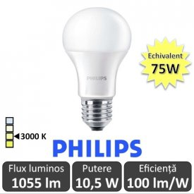 Bec LED Philips - CorePro LED bulb 10,5W A60 230V E27 alb-cald