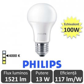 Bec LED Philips - CorePro LED bulb 13W A60 230V E27 alb-neutru