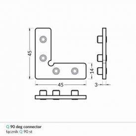Element imbinare 90 grade profil LED Frame14
